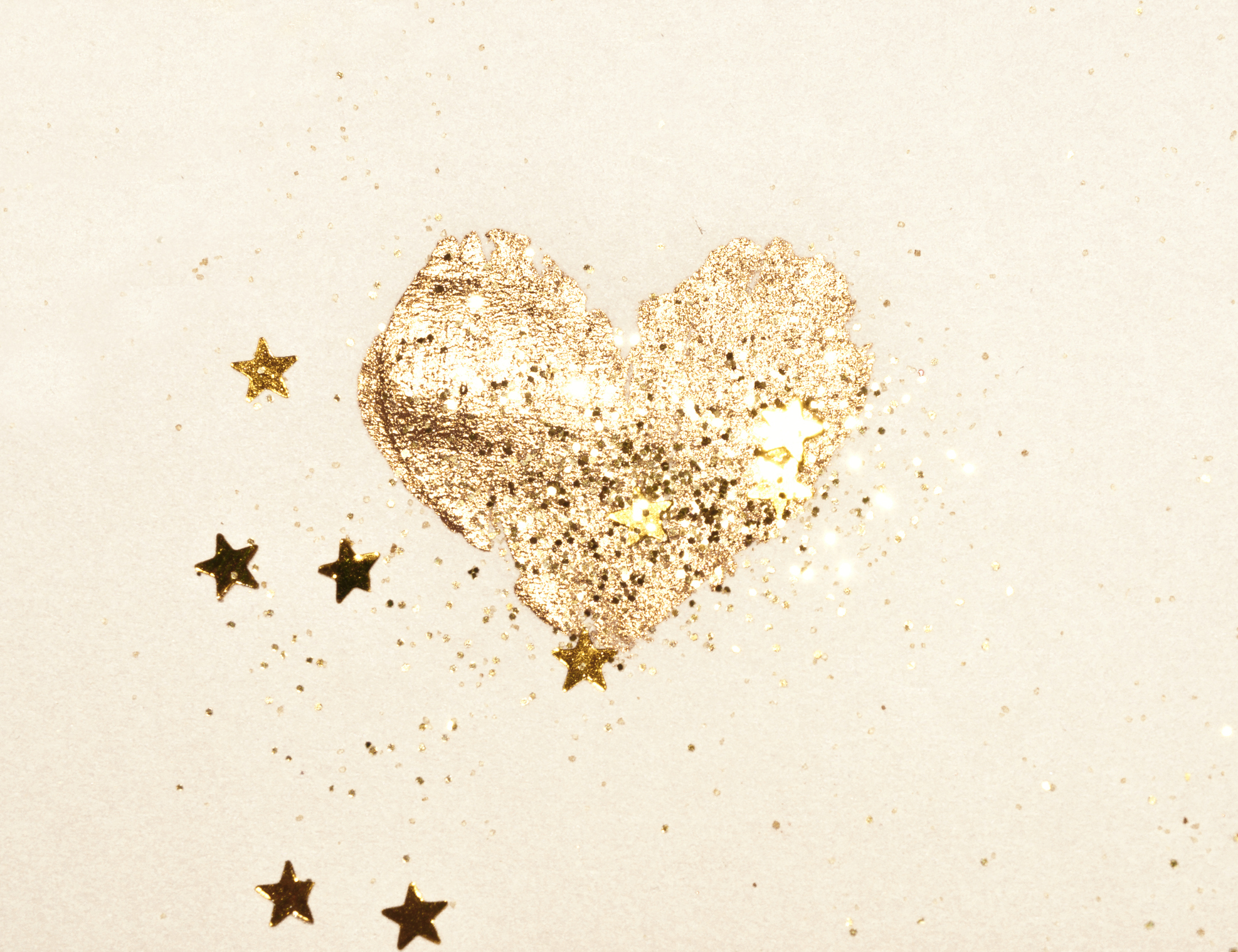 Abstract shiny watercolor heart and golden glitter in vintage nostalgic colors.